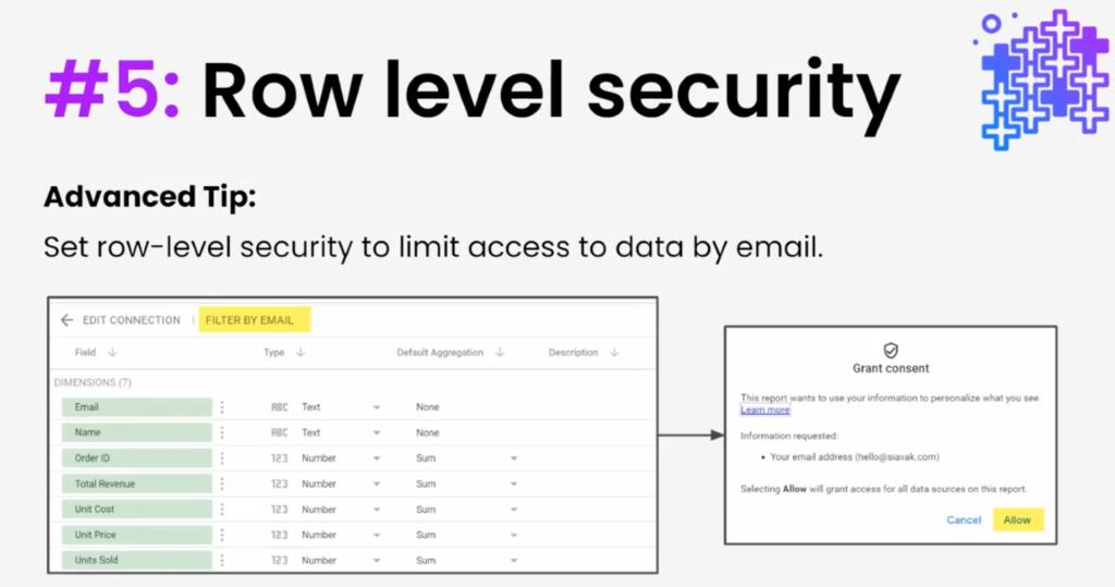 Google Data Studio Row level Security